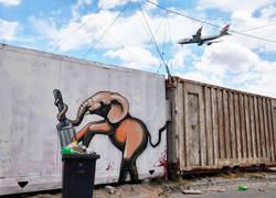Sokakta sanatında hayat bulan filler